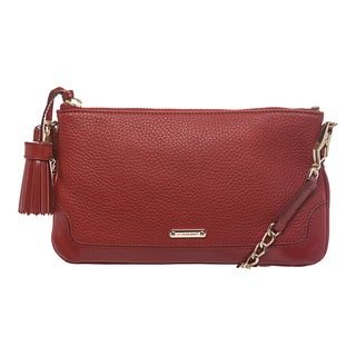 Burberry Military Red Grainy Leather Tassel Bag
