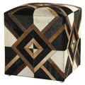 Diamond Hide 21-inch Brown Leather Pouf Ottoman