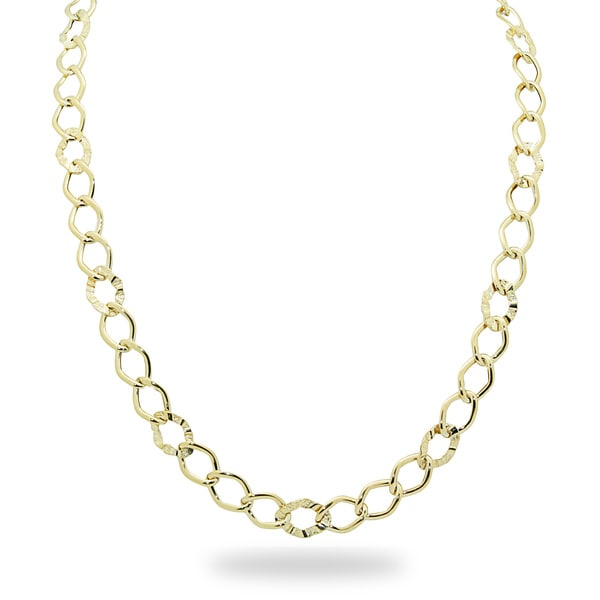 Gioelli 14k Gold Hammered Link Necklace