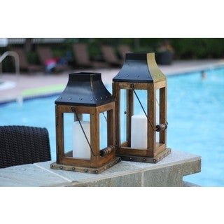 Large Rustic Wood and Metal Lantern (India)