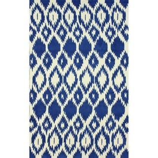 nuLOOM Modern Moroccan Trellis Blue Microfiber Rug (5' x 8')
