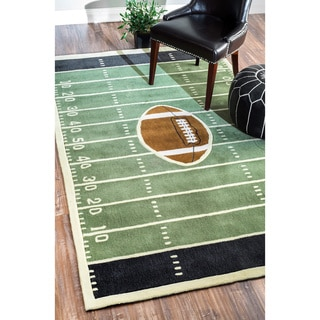nuLOOM Handmade Football Field Green Rug (5' x 8')