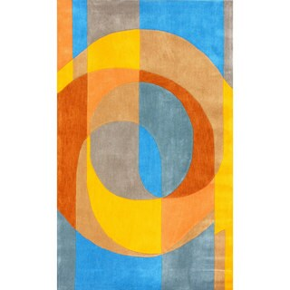 nuLOOM Handmade Modern Circle Stripe Multi Rug (5' x 8')