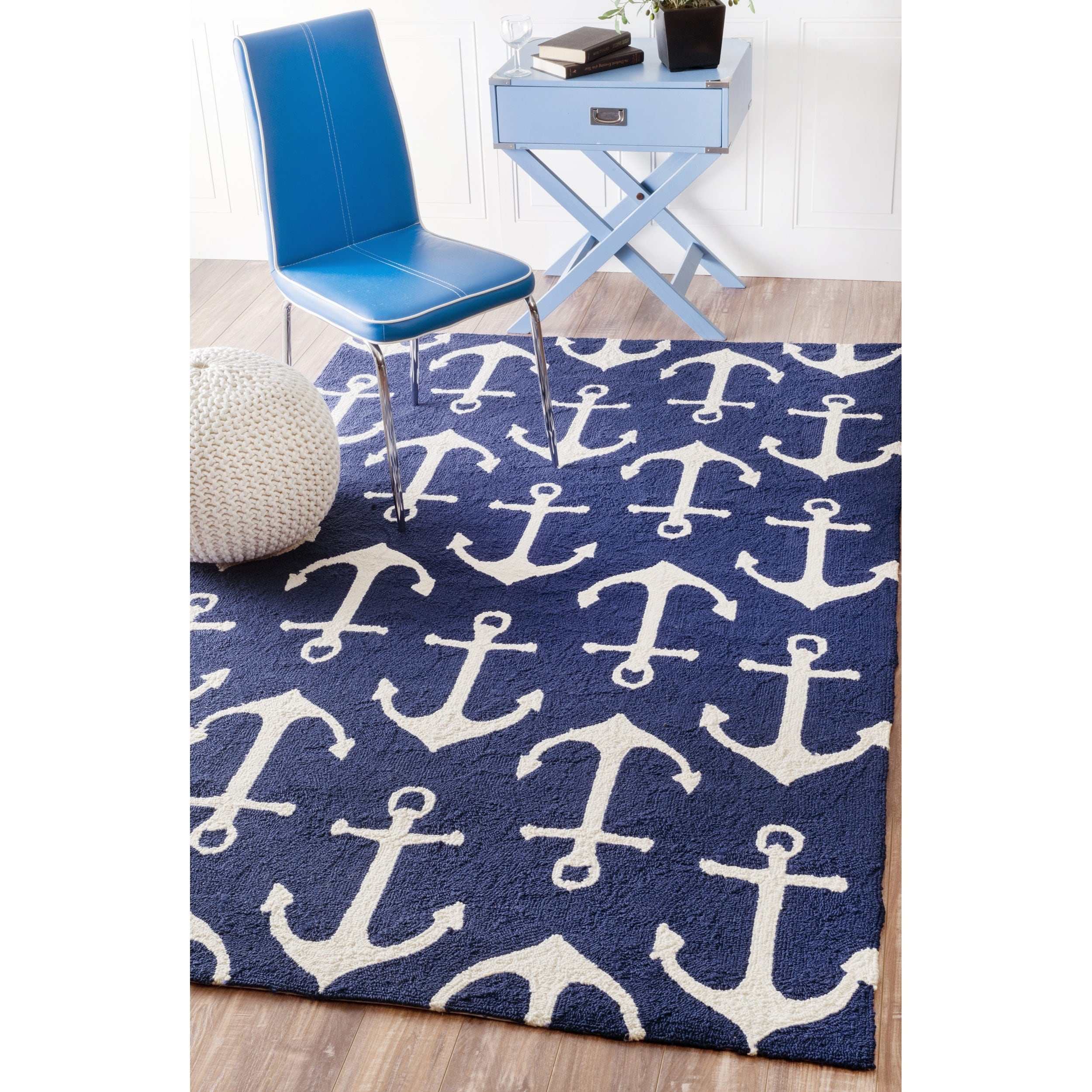 nuLOOM Indoor Outdoor Novelty Nautical Anchors Navy Rug