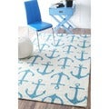 nuLOOM Indoor/ Outdoor Novelty Nautical Anchors White Rug (8' x 10')
