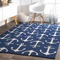nuLOOM Indoor/ Outdoor Novelty Nautical Anchors Navy Rug (8' x 10')