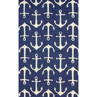 nuLOOM Indoor Outdoor Novelty Nautical Anchors Navy Area