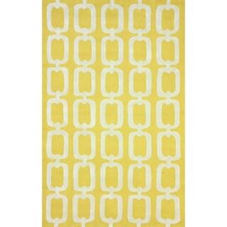 nuLOOM Handmade Indoor/ Outdoor Chain Links Yellow Rug (5' x 8')
