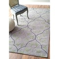 nuLOOM Handmade Cotton/ Wool Elegant Scroll Grey Rug (5' x 8')