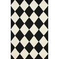 nuLOOM Hand-hooked Checkered Diamond Black Rug (7'6 x 9'6)