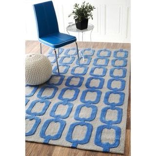 nuLOOM Handmade Indoor/ Outdoor Chain Links Blue Rug (7'6 x 9'6)