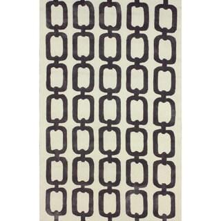 nuLOOM Handmade Indoor/ Outdoor Chain Links Grey Rug (7'6 x 9'6)