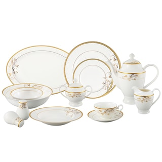 Lorren Home Trends La Luna Bone China 57-piece Gold Floral Design Dinnerware Set