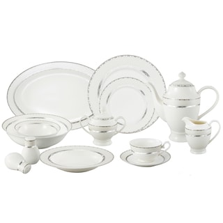 Lorren Home Trend La Luna Bone China 57-piece Silver Embossed Dinnerware Set