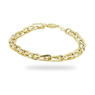 Gioelli 14k Yellow Gold Double Oval Link Bracelet