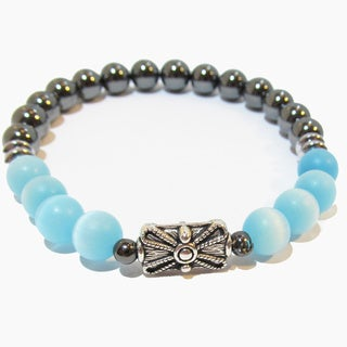 Frosted Aquamarine and Hematite Positive Energy Spiritual Bracelet