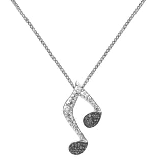 Sterling Silver 1/10ct TDW Diamond Musical Note Necklace (H-I, I1-I2)