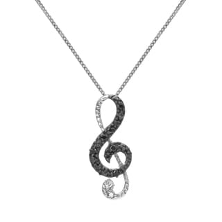 """1/10 cttw Sterling Silver Diamond Musical Note Necklace - 9'6"""" x 13'6"""""""