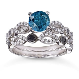 10k White Gold 1 1/2ct TDW Blue and Black Diamond Bridal Ring Set (H-I, I1-I2)