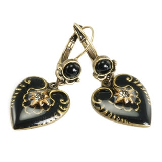 Sweet Romance Bronzetone Black Enamel Heart Earrings