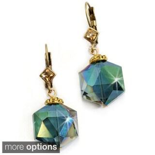 Sweet Romance Bronzetone or Silvertone Hexagon Crystal Bead Earrings