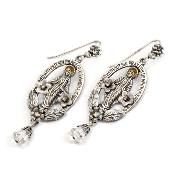 Sweet Romance Silvertone Crystal Madonna Oval Earrings