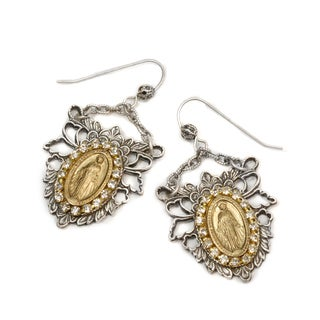 Sweet Romance Two-tone Crystal Our Lady of Lourdes Earrings