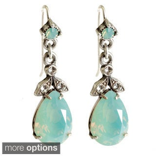 Sweet Romance Bronzetone or Silvertone Crystal Pear Earrings