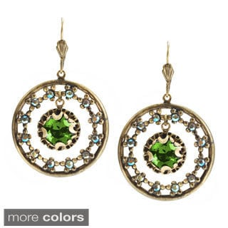 Sweet Romance Bronzetone Jewel Circle Earrings