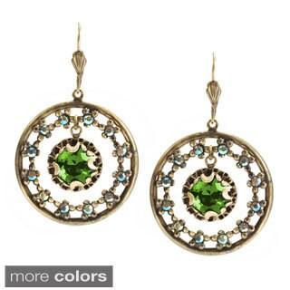 Sweet Romance Bronzetone Jewel Circle Earrings