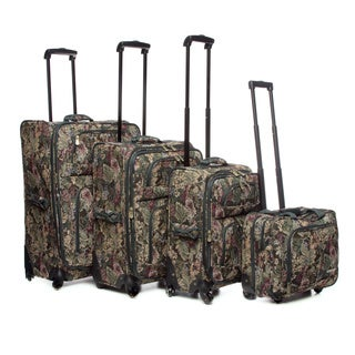 Leisure Lightweight Collection 4-piece Leaf Tapestry Luggage Set