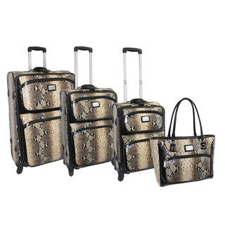 Adrienne Vittadini 4-piece Python Print Fashion Spinner Luggage Set