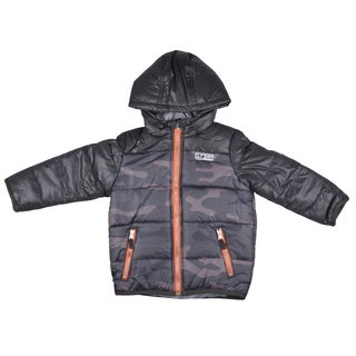 Osh Kosh Boy's Hooded Camo Print Bubble Jacket