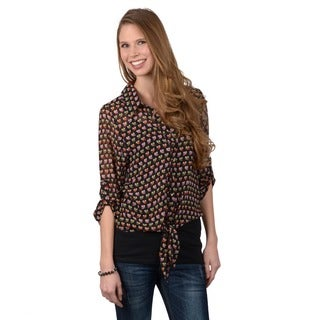 Journee Collection Womens Roll Sleeve Button-up Owl Print Shirt