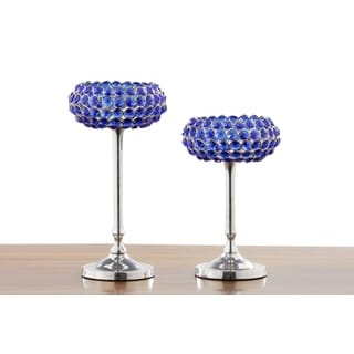 Blue Crystal Candle Holder (Set of 2)
