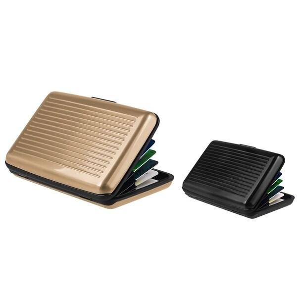 Zodaca Gold/ Black Aluminum Business Card Case (Pack of 2)
