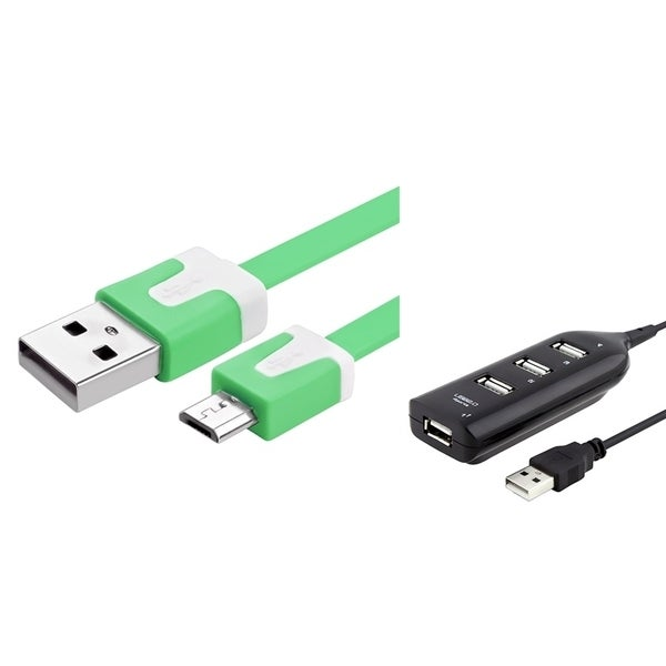 Insten 3-foot Green Retractable Charging Data Transfer Micro USB M/ M Noodle Cable Cord with 4-port Black USB Hub Extension