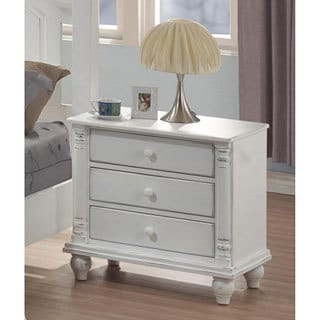 'Karla' White Traditional 3-drawer Nightstand