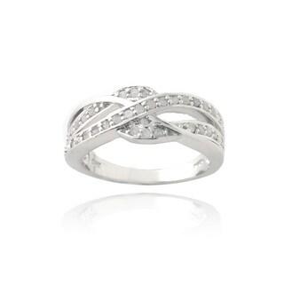 DB Designs Silvertone 1/3ct TDW Diamond Criss-cross Ring (I-J, I2-I3)