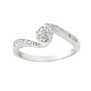 DB Designs Silvertone 1/5ct TDW Diamond Twisted Circle Ring (I-J, I2-I3)