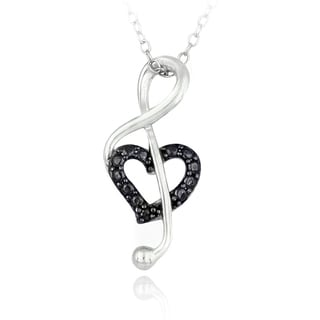 DB Designs Sterling Silver Black Diamond Musical Note Heart Necklace