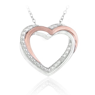 DB Designs Two-tone Rose Gold over Silver Diamond Heart Necklace