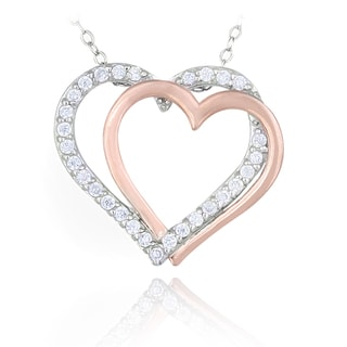Icz Stonez Two-tone Rose Gold over Silver Double Hearts Necklace