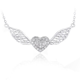 Icz Stonez Sterling Silver Cubic Zirconia Heart/ Wings Necklace