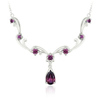 Glitzy Rocks Sterling Silver Rhodolite Necklace