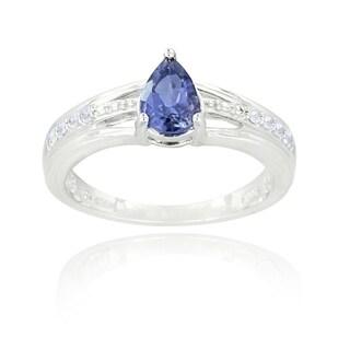 Glitzy Rocks Sterling Silver Iolite and White Topaz Ring