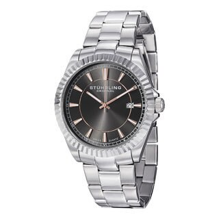 Stuhrling Original Men's Silver/Black Marine Swiss Quartz Bracelet Watch
