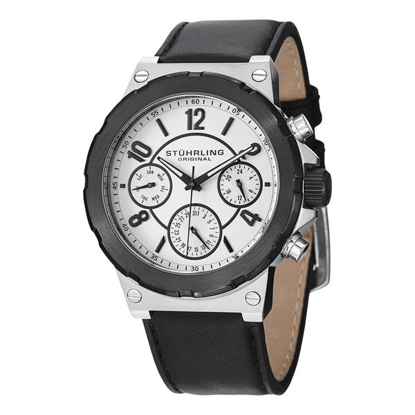 Stuhrling Original Men's Sirocco Quartz (MM0901) Black Leather-strap Watch