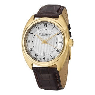 Stuhrling Original Men's Twenty Swiss Quartz Leather Strap Watch
