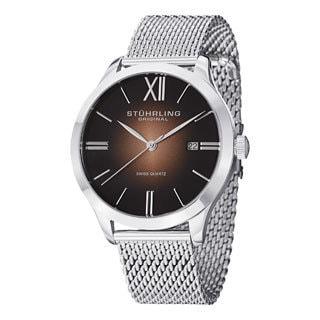 Stuhrling Original Men's Cuvette II Elite Silver Swiss Quartz Bracelet Watch